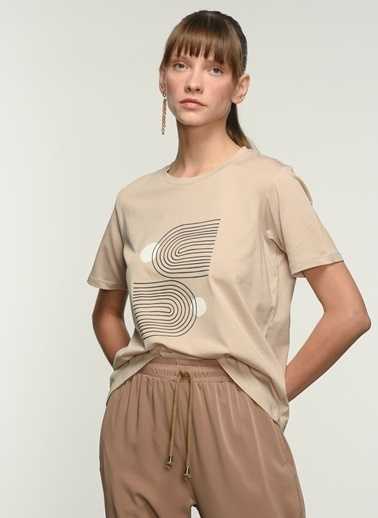 NGSTYLE NGKSS21TS0057 Baskılı Tişört Taş